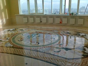 Результат реставрации мозаики на полу